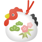 年賀状無料イラスト素材「干支(酉)の土鈴」