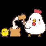 【2017年賀状無料イラスト】餅つきをするニワトリとヒヨコ