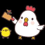 【2017年賀状無料イラスト】羽子板(羽つき)をするニワトリ