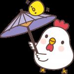 【2017年賀状無料イラスト】傘回しをするニワトリ