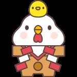 【2017年賀状無料イラスト】鏡餅になったニワトリとひよこ
