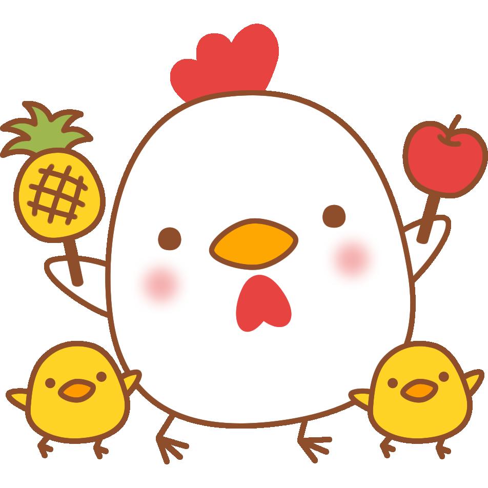 【2017年賀状無料イラスト】ピコ太郎のPPAPをするニワトリ