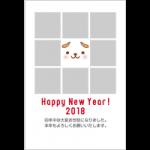 [2018年賀状無料テンプレート]8枚の写真が挿入できるフォトフレーム年賀状