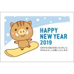 年賀状2019無料テンプレート「スノボをするかわいい猪」