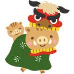年賀状2019無料イラスト「獅子舞になった猪の親子」