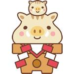 年賀状2019無料イラスト「鏡餅になったかわいい猪の親子」