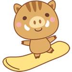 年賀状2019無料イラスト「スノーボードをするかわいい猪」