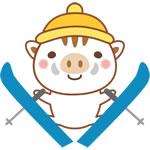 年賀状2019無料イラスト「スキーをするかわいい猪」