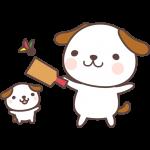 【2018年賀状無料イラスト】羽子板(羽つき)をする犬