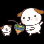 【2018年賀状無料イラスト】コマ回しをする犬