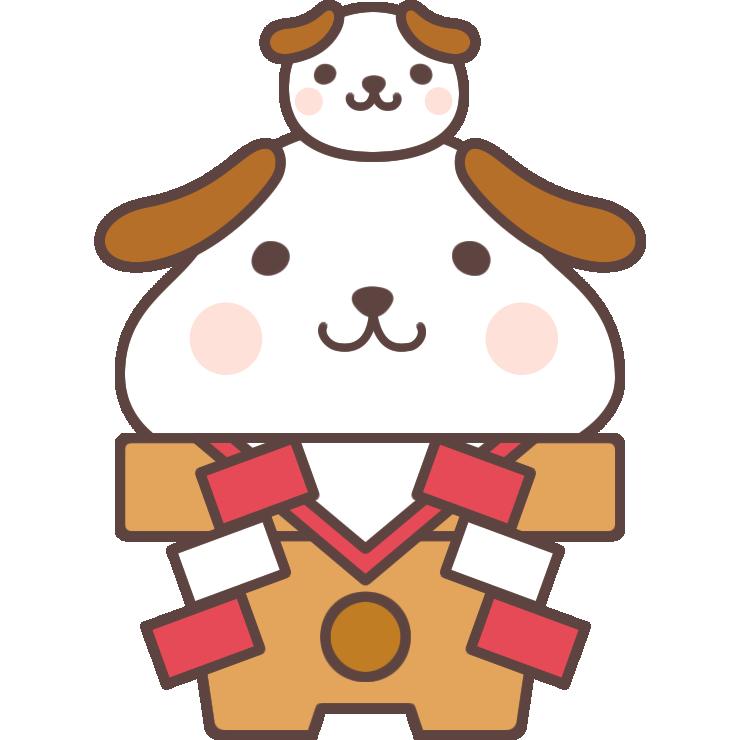 【2018年賀状無料イラスト】鏡餅になった犬の親子