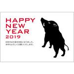 シンプルおしゃれな年賀状2019無料テンプレート「猪のシルエット(亥年の干支)」