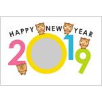 年賀状2019無料テンプレート「西暦2019の写真フレーム」