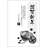 白黒(モノクロ)年賀状2019無料テンプレート「手鞠」