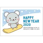 年賀状2020無料テンプレート「スノボをするかわいいねずみ」