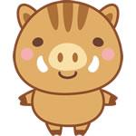 年賀状2019無料イラスト「ゆるかわいい猪」