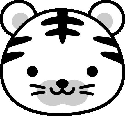 年賀状2022無料イラスト「寅(虎・トラ)の白黒アイコン」