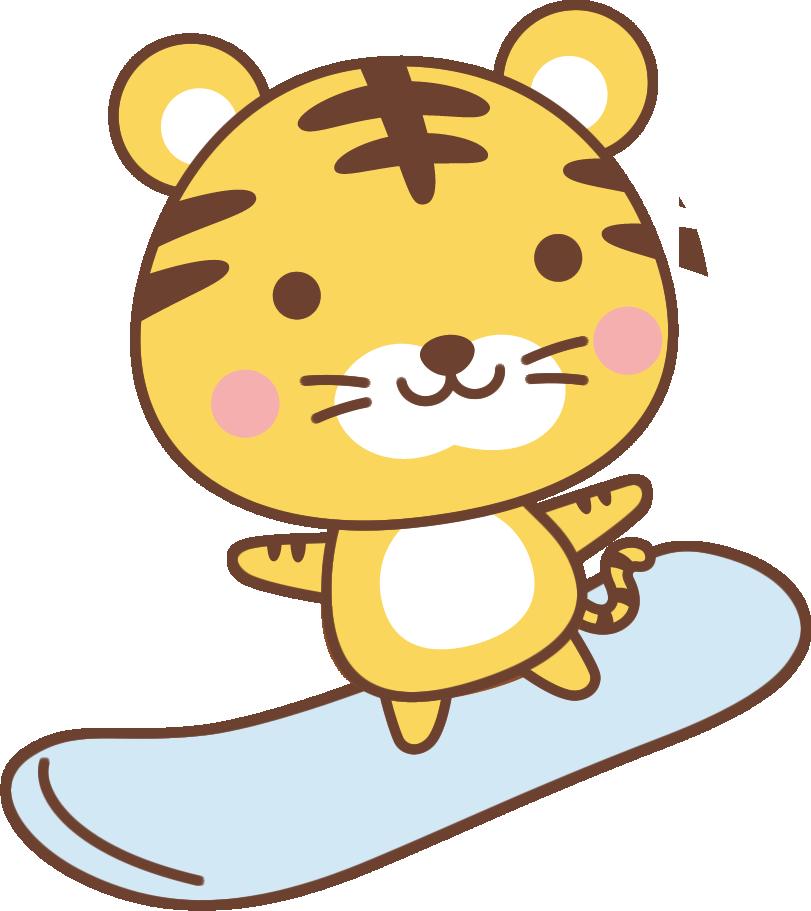 年賀状2022無料イラスト「スノーボードをするかわいいトラ」